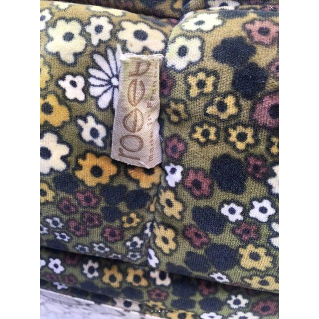 "Pair of Michel Ducaroy for Ligne Roset Vintage ""Togo"" Floral Plush Ottomans - Image 4 of 4"