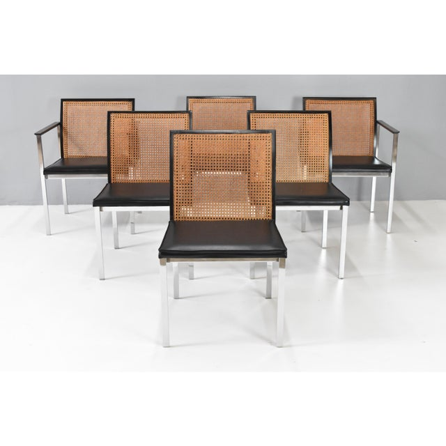 Stunning set of six vintage chrome & cane back dining chairs by Lane Furniture, C1970s. This handsome set of dining chairs...