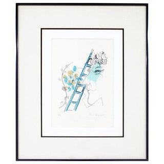 "1957 Mid-Century Modern ""L'echelle"" Framed Marc Chagall Etching Litho Signed 36/90 For Sale"