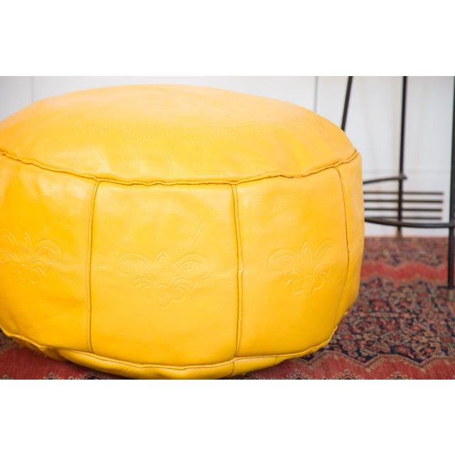 Antique Leather Moroccan Pouf Ottoman, Fly Yellow For Sale - Image 4 of 8