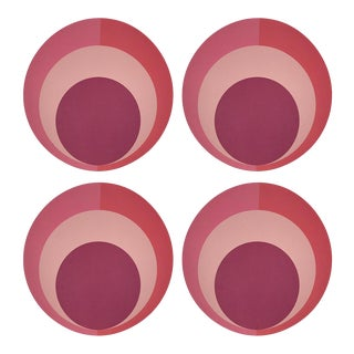 "Color Block Pink Coral, 16"" Round Pebble Placemats, Set of 4 For Sale"
