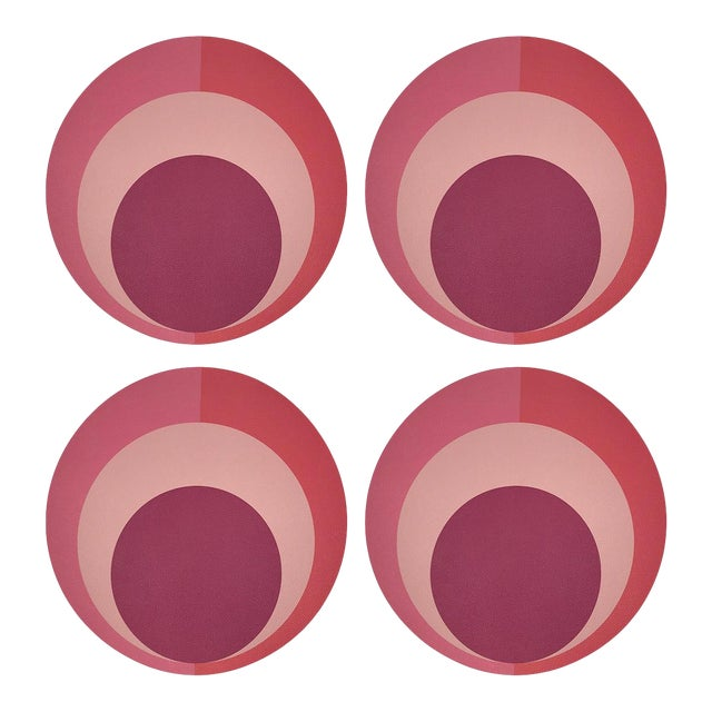 """Color Block Pink Coral, 16"""" Round Pebble Placemats, Set of 4 For Sale"""