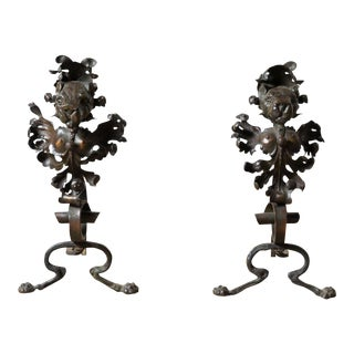 Pair of Antique Lion Andirons For Sale