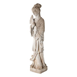 Vintage Cast Stone Goddess Figure For Sale