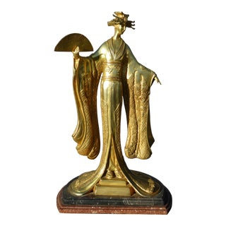 Vintage Art Deco Brass Oriental Asian Geisha Holding Fan Statue Double Marble Base