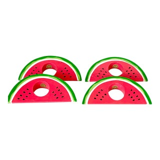 Vintage Set of 4 Watermelon Napkin Rings For Sale