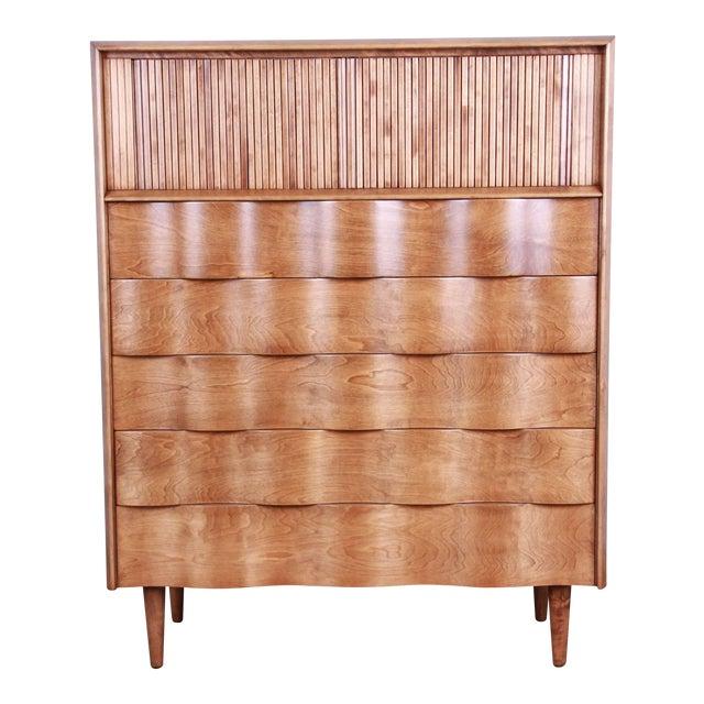 Edmond Spence Wave Front Highboy Dresser For Sale