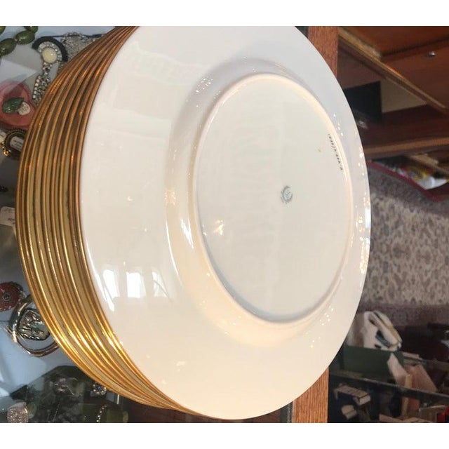 Lenox Hand Enameled Blue and Gold Dinner Service Plates - Set of Eleven For Sale - Image 4 of 12