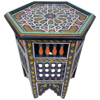Moroccan Hexagonal Hand Painted Wooden End Table For Sale