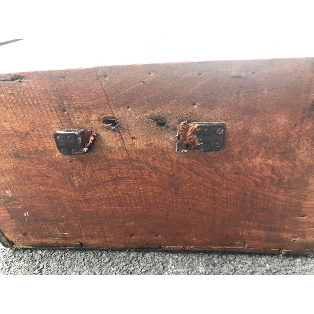 19th Century American Classical Wood and Iron Travel Trunk For Sale - Image 10 of 11