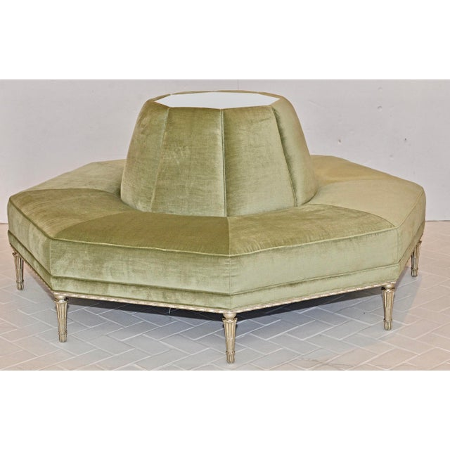 Green Caracole Modern Celery Green Velvet and White Stone Round/Octagonal Banquette For Sale - Image 8 of 8