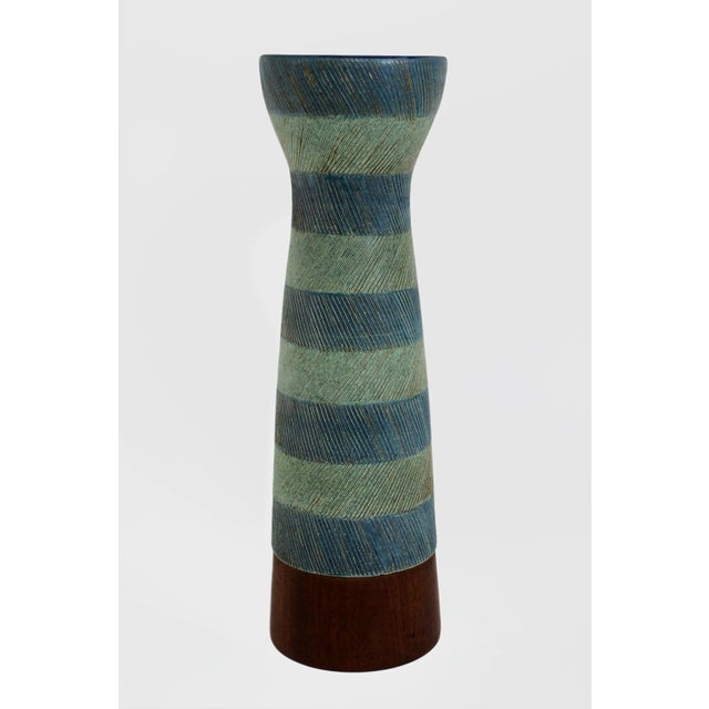 Mid-Century Modern Bitossi for Raymor Walnut Base Vase For Sale - Image 3 of 6