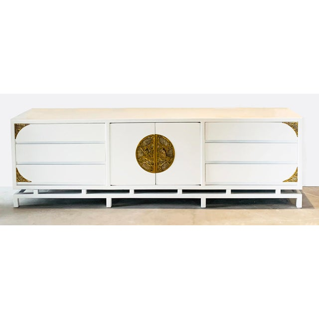 White Lacquered Console/Credenza With Brass Asian Motif Accents For Sale - Image 10 of 10