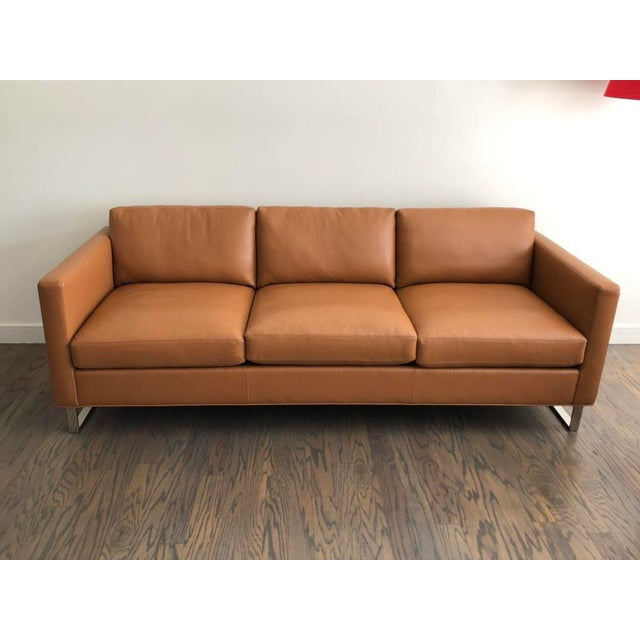 Mid-Century Modern Milo Baughman for Thayer Coggin Brown Leather Sofa