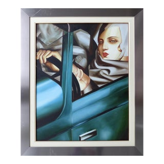 Self Portrait With Green Bugatti by Tamara De Lempicka For Sale
