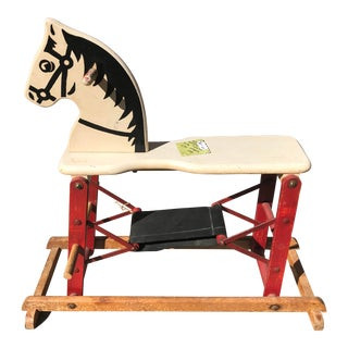 1950's Vintage Mid Century Wooden Rocking Horse For Sale