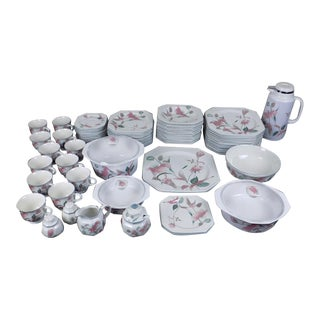 Mikasa Silk Flowers China Service for 12 Dinnerware - 72 Piece Set For Sale