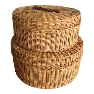 1990s Wicker Rattan Hat Boxes - A Pair For Sale