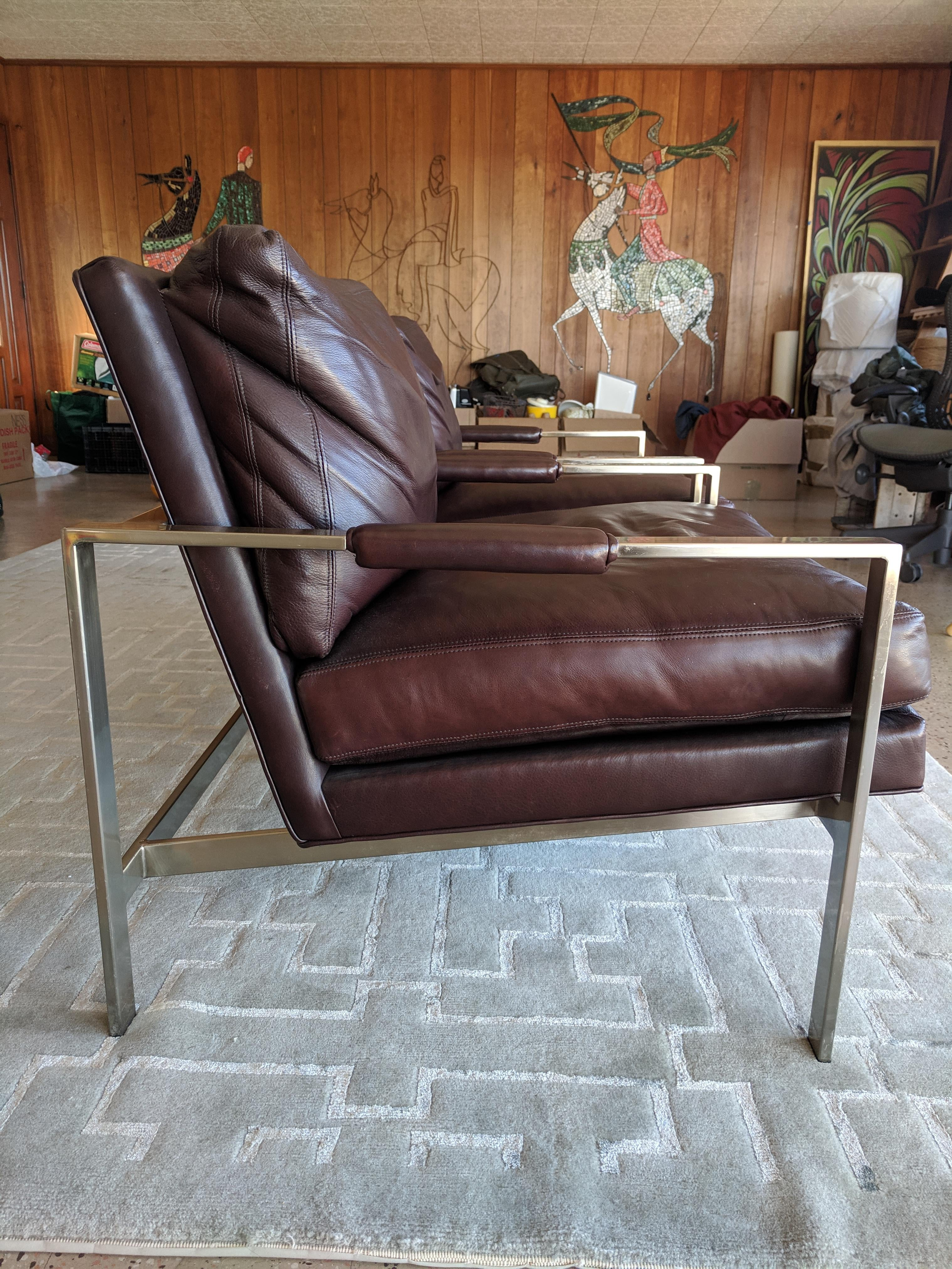 Vintage Mid Century Milo Baughman For Thayer Coggin Chairs A Pair