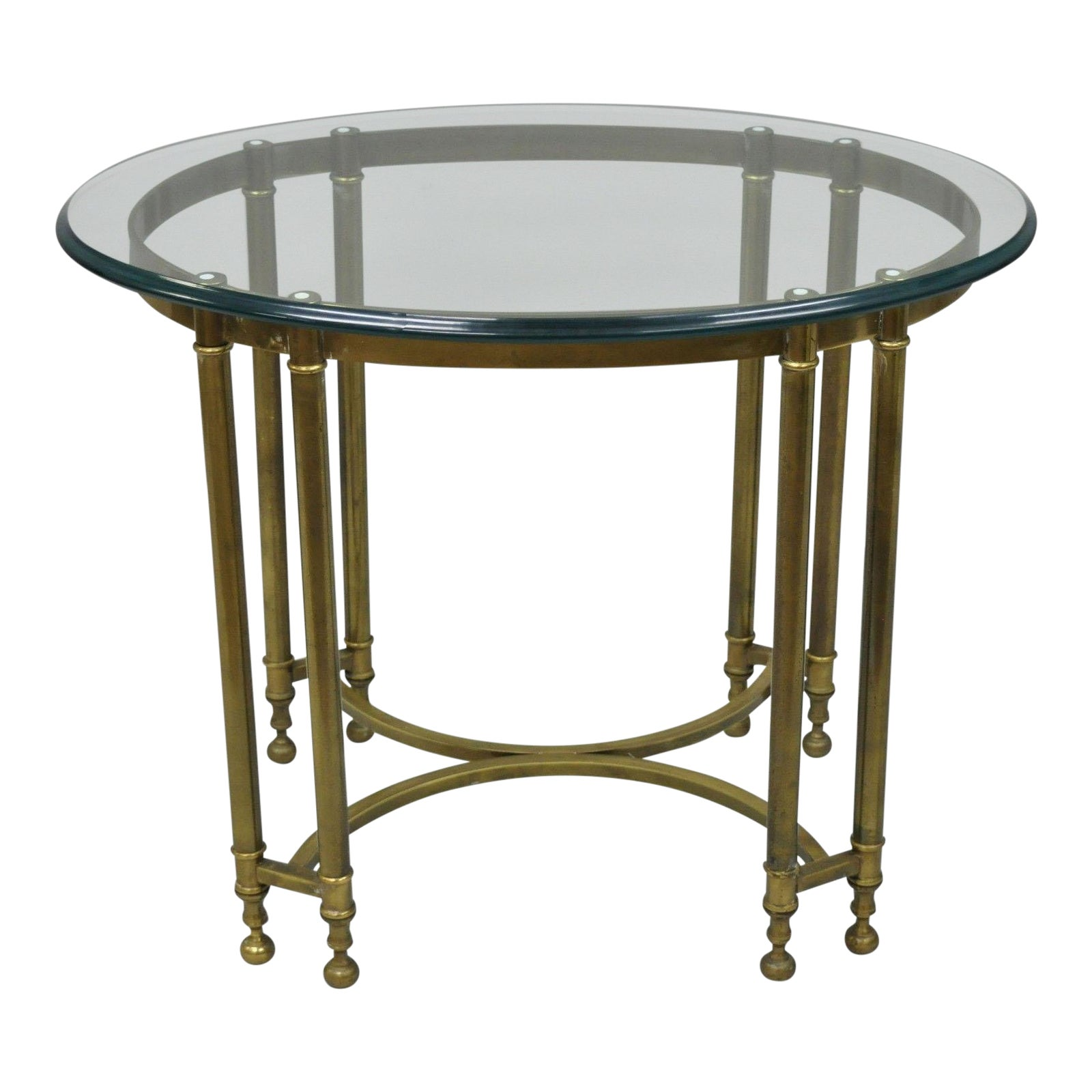 Vintage Labarge Style Brass And Beveled Oval Glass Top Side Table