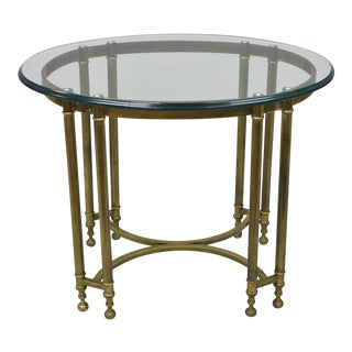 Vintage Labarge Style Brass and Beveled Oval Glass Top Side Table For Sale