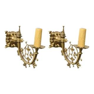Pair of Cast Leaf Patterned Brass Sconces For Sale