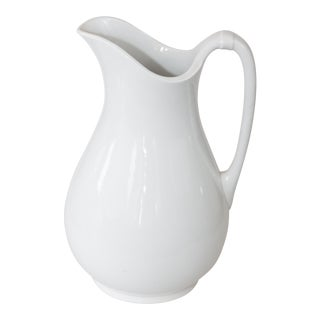 Large Antique English White Ironstone Pitcher For Sale