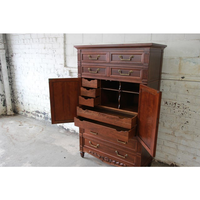 Baker Furniture Company Baker Furniture French Regency Style Cherry Wood Armoire Dresser Chest For Sale - Image 4 of 11