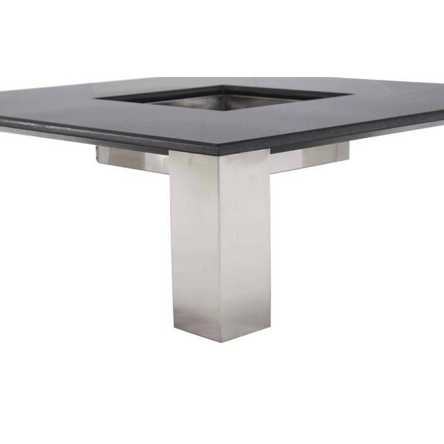 Mid 20th Century Mid-Century Modern Square Granite Top Coffee Table For Sale - Image 5 of 11