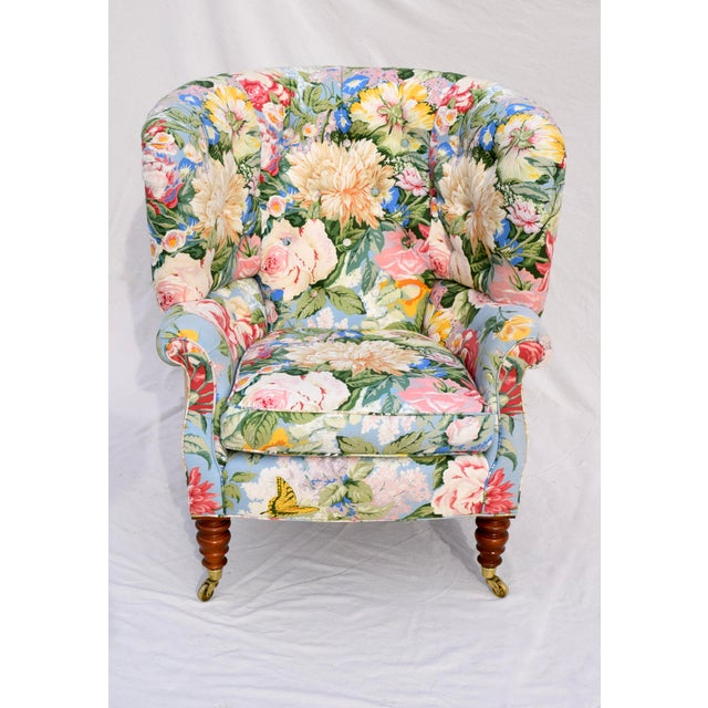 Baker Furniture Floral Tufted Wingback Chair on Brass Casters For Sale - Image 12 of 13