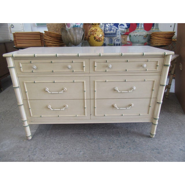 Wood Chippendale Palm Beach Faux Bamboo Double Dresser For Sale - Image 7 of 7