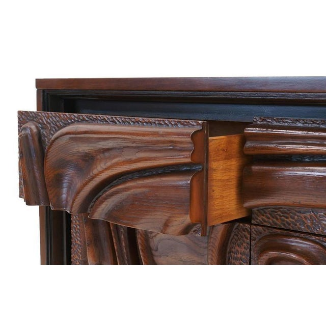 Walnut Witco Carved Front Walnut Cabinet / Credenza in the Style of Philip Lloyd Powell For Sale - Image 7 of 10