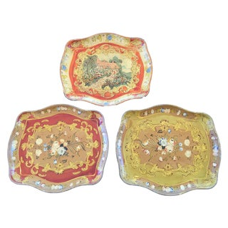 Vintage Wood Hand Painted Trays - Set of 3 For Sale