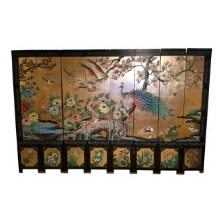 Early 20th Century Vintage Peacock 8 Panel Screen For Sale