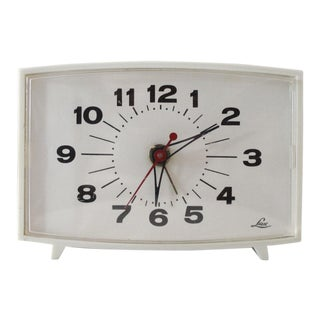 Vintage Lux Electric Alarm Clock Mid Century Modern For Sale
