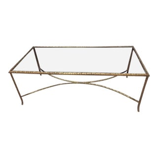 1970's Vintage Maison Charles Paris Bronze & Glass Table For Sale