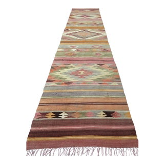 "Anatolian Kilim Runner Pastel Colored Hallway -2'1'x10"" For Sale"