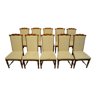 Set of 10 Broyhill Furniture Solid Oak Country French Upholstered Dining Side Chairs 5071-80 For Sale