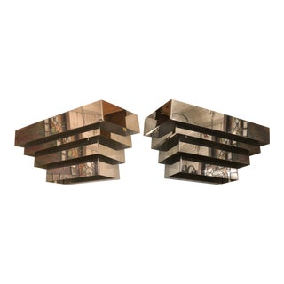 Pair Chrome Wall Sconces For Sale