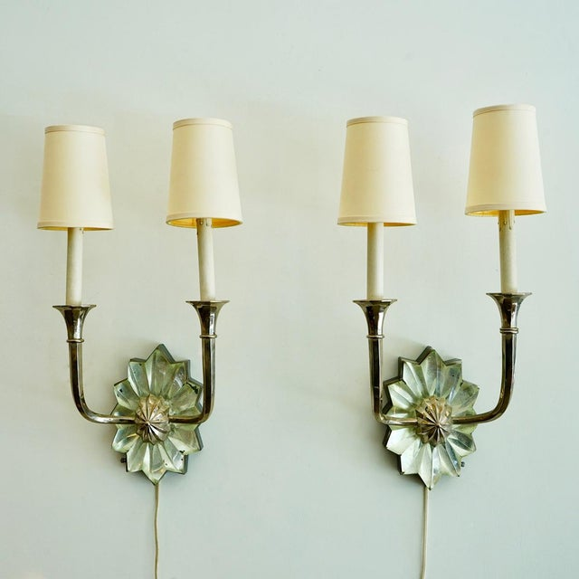 French Art Deco Sconces A pair of french art deco sconces with rock crystal appliqué's, nickel plated fittings an...