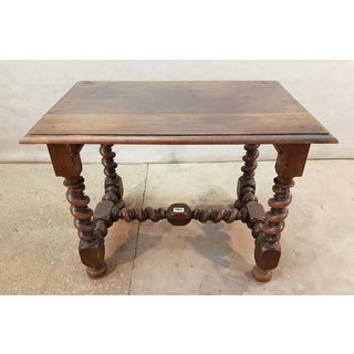 Timeless and Gorgeous Antique French Oak Barley Twist H-Stretcher Table Desk Preview