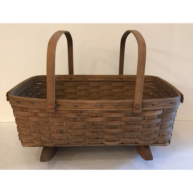 Vintage Longaberger Cradle Basket For Sale - Image 9 of 9
