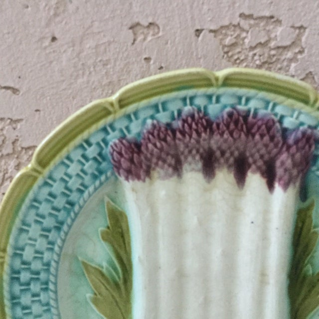 Orchies 1890 French Majolica Asparagus Orchies Plate For Sale - Image 4 of 7
