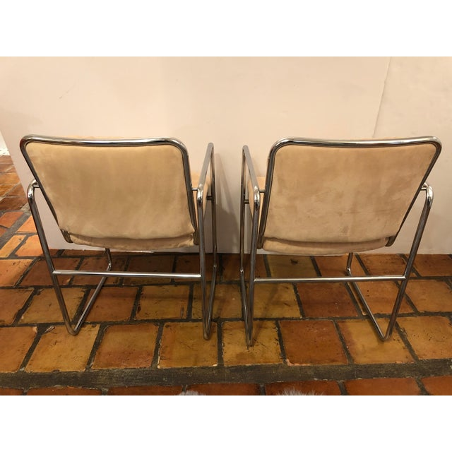 Metal Milo Baughman Style Mid Century Modern Ultra Suede and Chrome Club Chairs- a Pair For Sale - Image 7 of 10