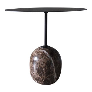 Italian &Tradition Marble and Steel Oval Lato Side Table For Sale