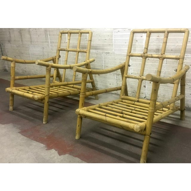 Riviera Style Superb Pair of Bamboo Lounge Chairs For Sale - Image 4 of 4
