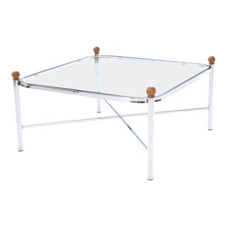 Square Rounded Corners Wood Finials X-Stretcher Base Chrome Coffee Table For Sale