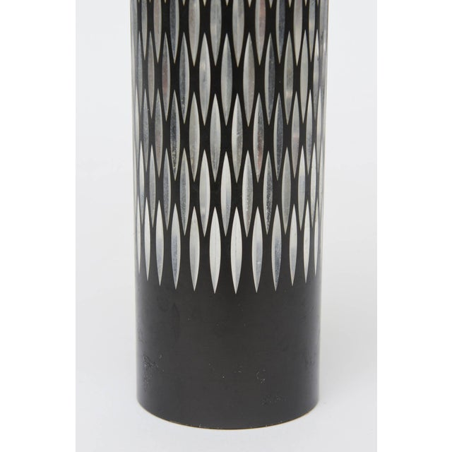 Black Graphic Diamond Patterned Vase or Pen Holder For Sale - Image 8 of 8