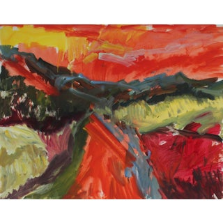 """New Mexico"" Abstracted Desert Landscape in Oil, 1960"