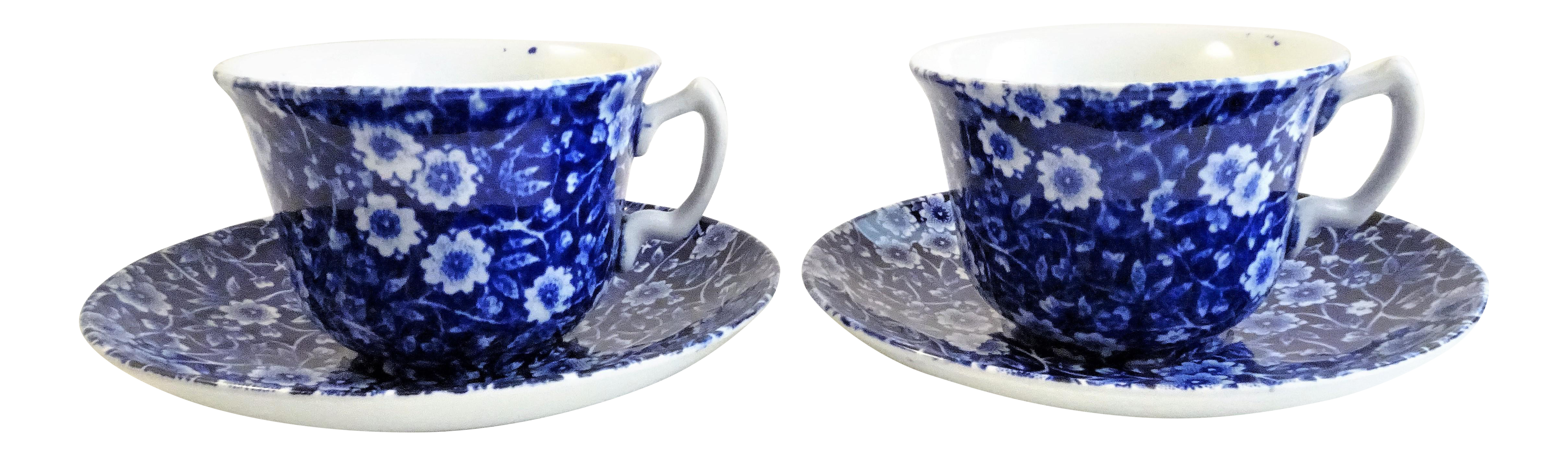 Staffordshire Calico Cups \u0026 Saucers Made in England - A Pair - Image 1 of  sc 1 st  Chairish & Staffordshire Calico Cups \u0026 Saucers Made in England - A Pair | Chairish